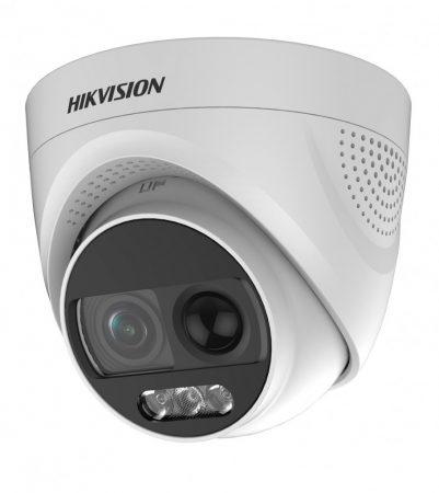 Hikvision DS-2CE72DFT-PIRXOF28 (2.8mm) 2 MP ColorVu THD PIR WDR fix dómkamera; OSD menüvel; sziréna; riasztás kimenet
