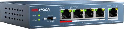Hikvision DS-3E0105P-E 5 portos PoE switch (58 W); 4 PoE + 1 uplink port; nem menedzselhető