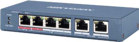 Hikvision DS-3E0106HP-E 6 portos PoE switch (60 W); 1 HiPoE + 3 PoE+(at) + 2 uplink port; nem menedzselhető