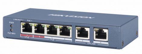 Hikvision DS-3E0106P-E/M 6 portos PoE switch (30 W); 4 PoE+ / 2 uplink port; nem menedzselhető