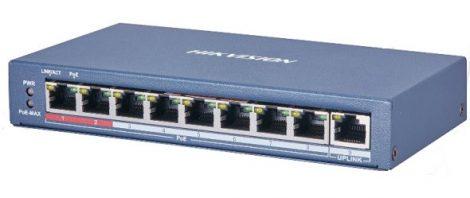 Hikvision DS-3E0109P-E (C) 9 portos PoE switch (115 W); 8 PoE + 1 uplink port; nem menedzselhető