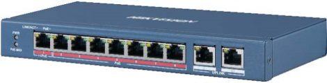 Hikvision DS-3E0310HP-E 10 portos PoE switch (120 W); 1 HiPoE + 7 PoE+(at) + 2 uplink port; nem menedzselhető