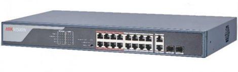 Hikvision DS-3E0318P-E (B) 18 portos PoE switch (230 W); 16 PoE + 2 kombinált uplink port; nem menedzselhető