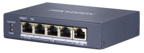 Hikvision DS-3E0505HP-E 5 portos Gbit PoE switch (60 W); 3 PoE+ / 1 HiPoE / 1 uplink port