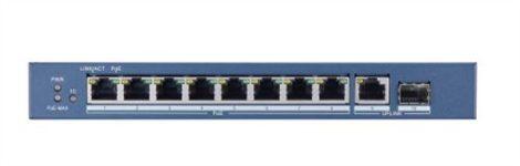 Hikvision DS-3E0510P-E 10 portos Gbit PoE switch (123 W); 8 PoE + 1 RJ45 + 1 SFP kombinált uplink port; nem menedzselhető
