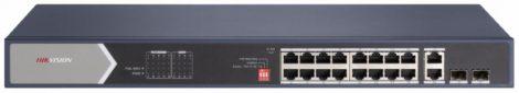 Hikvision DS-3E0520HP-E 20 portos Gbit PoE switch (225 W); 12 PoE+ / 4 HiPoE / 2 RJ45 + 2 SFP uplink port