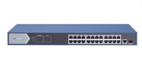 Hikvision DS-3E0526P-E 26 portos Gbit PoE switch (370 W); 24 PoE + 1 RJ45 + 1 SFP uplink port; nem menedzselhető
