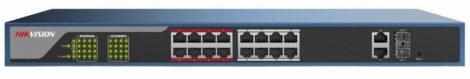 Hikvision DS-3E1318P-EI 18 portos PoE switch (230 W); 16 PoE + 2 kombinált uplink port; smart menedzselhető