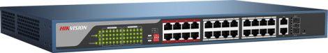 Hikvision DS-3E1326P-EI 26 portos PoE switch (370 W); 24 PoE + 2 kombinált uplink port; smart menedzselhető