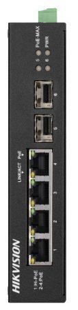 Hikvision DS-3T0506HP-E/HS 6 portos ipari Gbit PoE switch (60 W); 3 PoE+ / 1 HiPoe / 2 SFP uplink port; nem menedzselhető