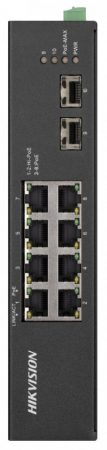 Hikvision DS-3T0510HP-E/HS 10 portos ipari Gbit PoE switch (110 W); 6 PoE+ / 2 HiPoE / 2 SFP uplink port; nem menedzselhető