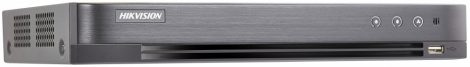 Hikvision DS-7204HUHI-K1/P 4 csatornás THD DVR; 5MP@12fps; 4MP@15fps; 1080p@25fps; max.8×8MP IP; PoC; riasztás be-/kimenet