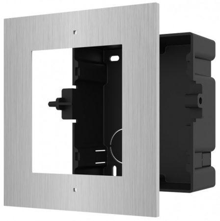 Hikvision DS-KD-ACF1/S Társasházi IP video-kaputelefon szerelőkeret süllyesztéshez; 1 modulos verzió; rozsdamentes acél