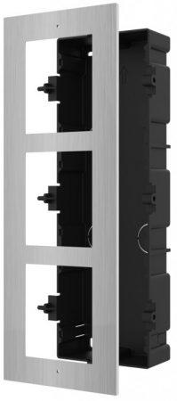 Hikvision DS-KD-ACF3/S Társasházi IP video-kaputelefon szerelőkeret süllyesztéshez; 3 modulos verzió; rozsdamentes acél