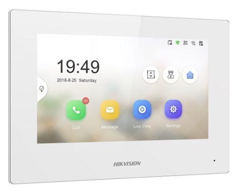 Hikvision DS-KH6320-WTE1-W IP video-kaputelefon beltéri egység; 7 LCD kijelző; 1024x600 felbontás; WiFi
