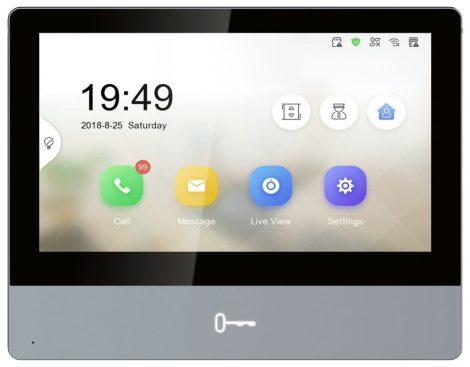 Hikvision DS-KH8350-WTE1-Grey IP video-kaputelefon beltéri egység; 7 LCD kijelző; 1024x600 felbontás; WiFi; 48V PoE