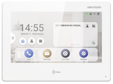 Hikvision DS-KH9310-WTE1 Android IP video-kaputelefon beltéri egység; 7 LCD kijelző; 1024x600 felbontás; WiFi; 12VDC/PoE