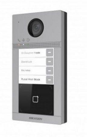 Hikvision DS-KV8413-WME1 Négylakásos IP video-kaputelefon kültéri egység; kártyaolvasóval; IR-megvilágítás; WiFi; 12VDC/PoE